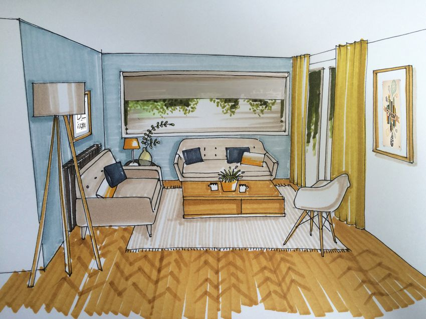 croquis salon scandinave cosy dessin d co pinterest. Black Bedroom Furniture Sets. Home Design Ideas