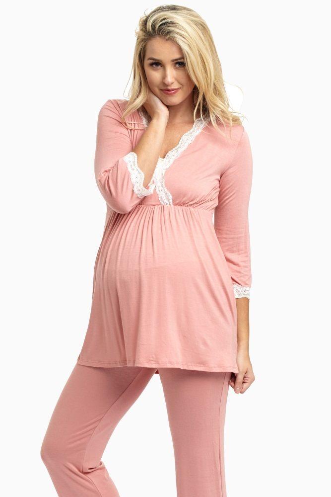 c7a762751723e Pink Lace Trim Maternity Pajama Top. Pink Lace Trim Maternity Pajama Top  Stylish Maternity, Maternity Lounge Wear, Maternity Nightwear,