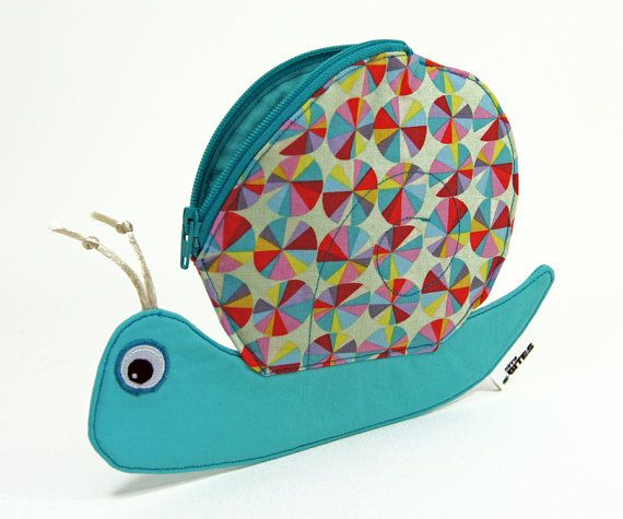 MinneBites Snail Zipper Pouch in Kaleidoscope - Coin Purse in spring colors aqua turquoise - Cute Animal Bag Gift for Kids. $28.00, via Etsy.