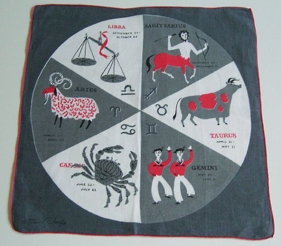 Tammis Keefe Zodiac Hankie. I am thinking this may be 2-sided to support all 12 signs?