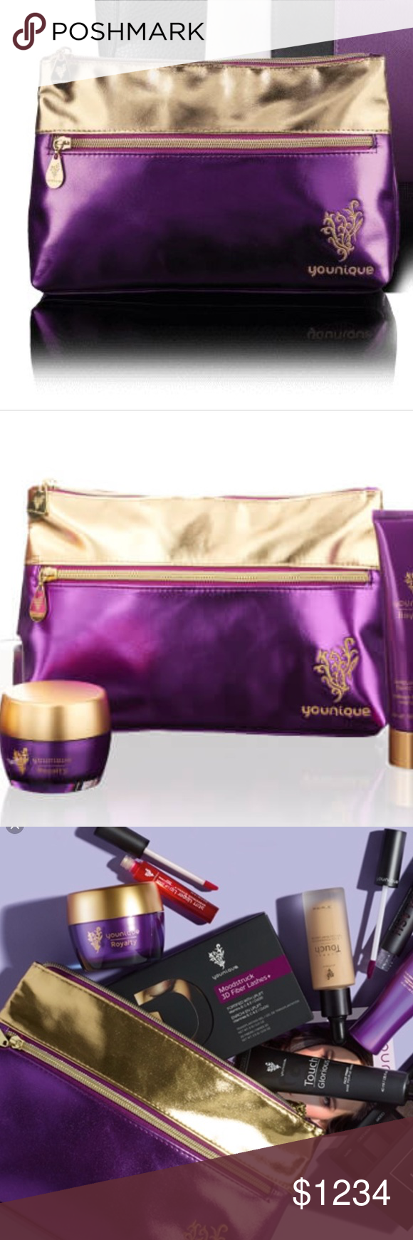 Final price 💋younique bag metallic purple nwt Purple