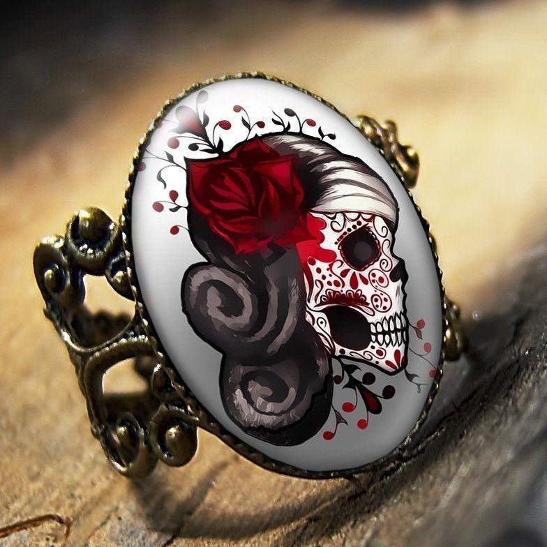 Day of the Dead Muertos Tattoo Skull Ring