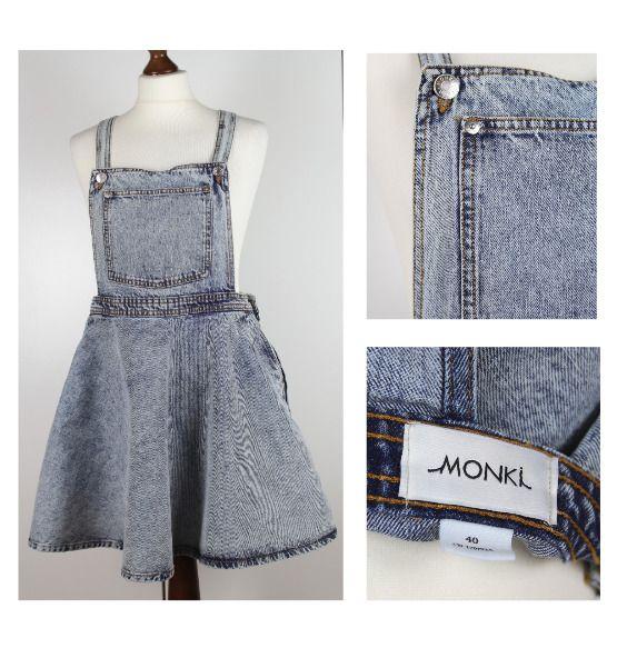 4163d5a463a9 MONKI Pinafore Dress Size 40 UK 12 Stonewashed Skater Dungaree Mini Dress  #Monki #SkaterDress