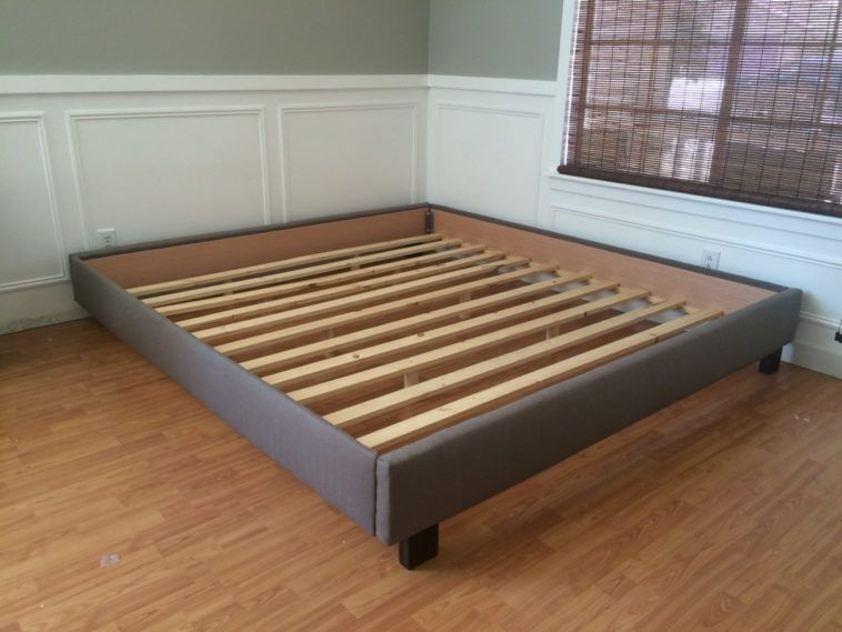 Gray Upholstered California King Size Platform Bed Frame Without Headboard