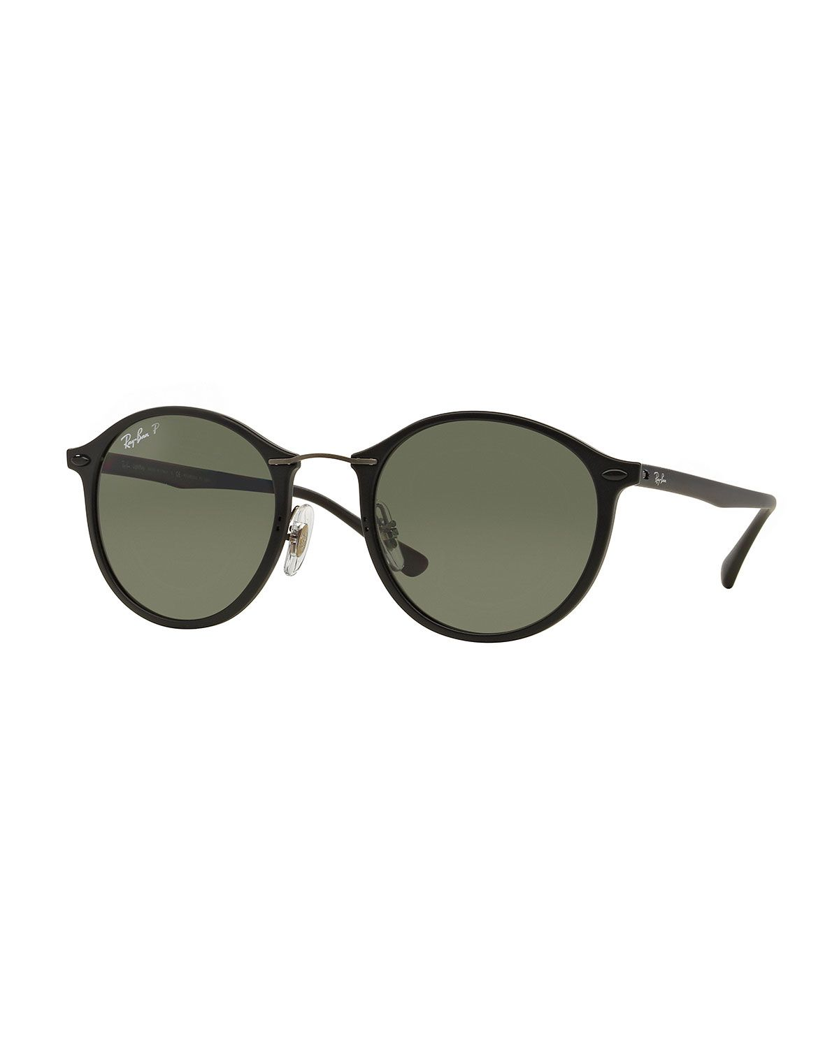 26c9e66b800 Ray-Ban classic round sunglasses. Plastic frames with metal wire nose  bridge. Solid tonal lenses. Silicone nosepieces for no-slip fit.