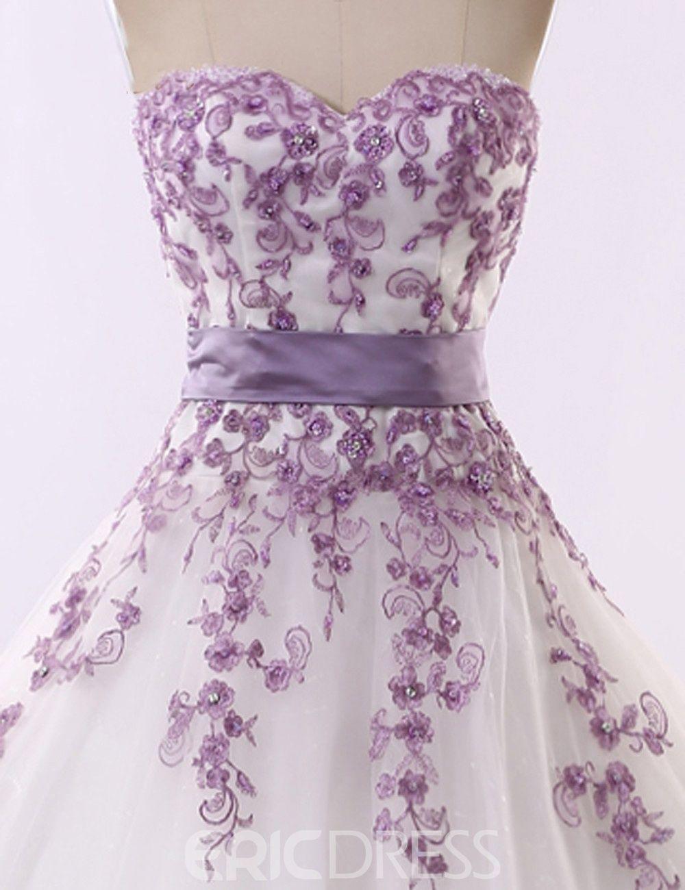 Ericdress Strapless Appliques Ball Gown Wedding Dress Purple Wedding Dress Ball Gown Wedding Dress Ball Gowns [ 1300 x 1000 Pixel ]