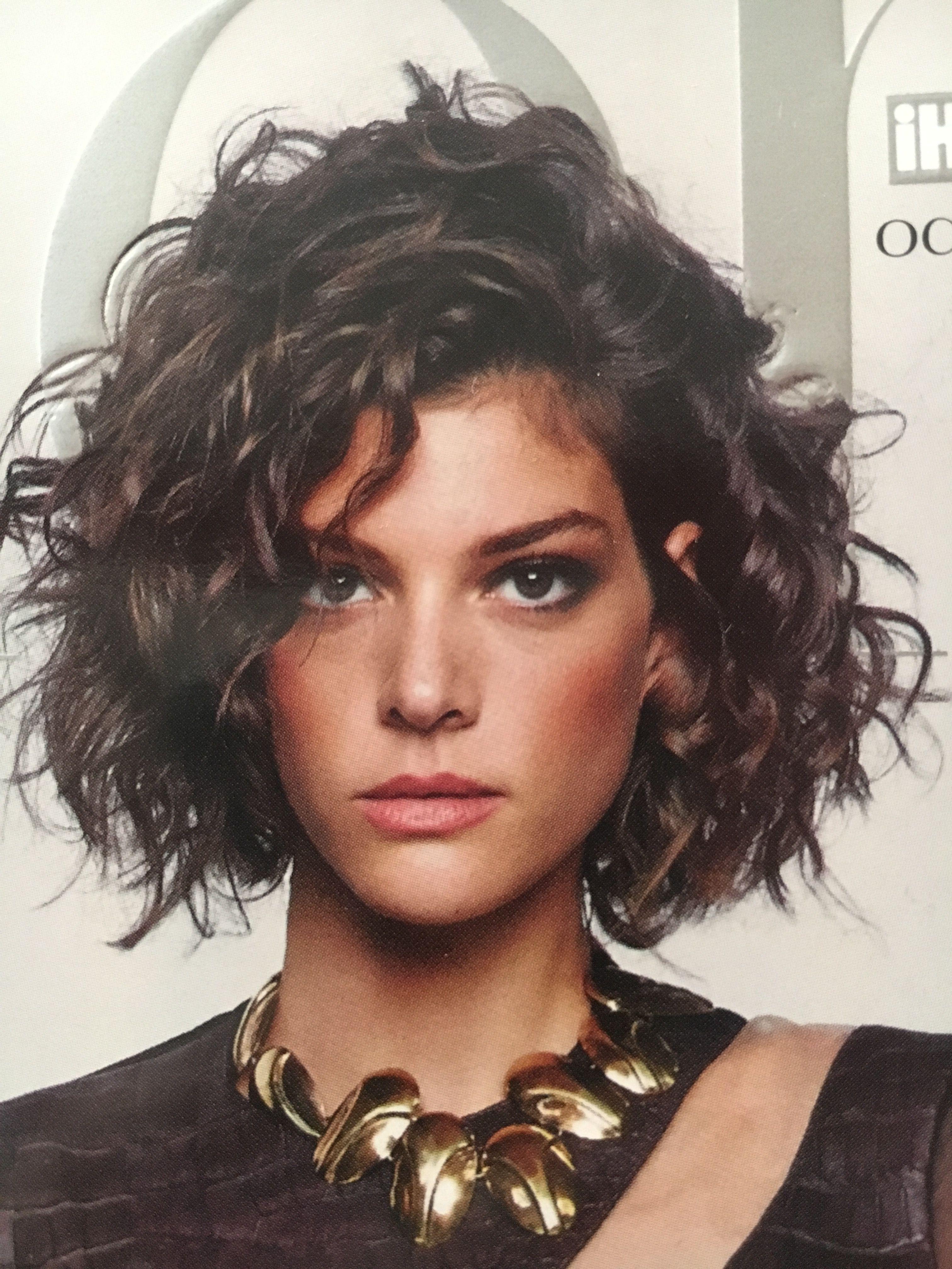 jaw length bob curly wavy hair