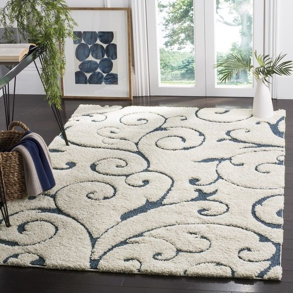 Safavieh Florida Shag Scrollwork Cream Blue Area Rug 8 6 X 12