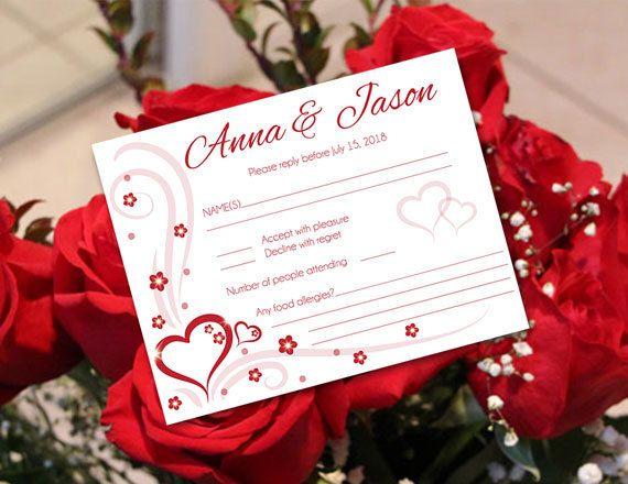 Diy Printable Wedding Rsvp Card Template Editable Ms Word Etsy Rsvp Wedding Cards Rsvp Card Wedding Rsvp