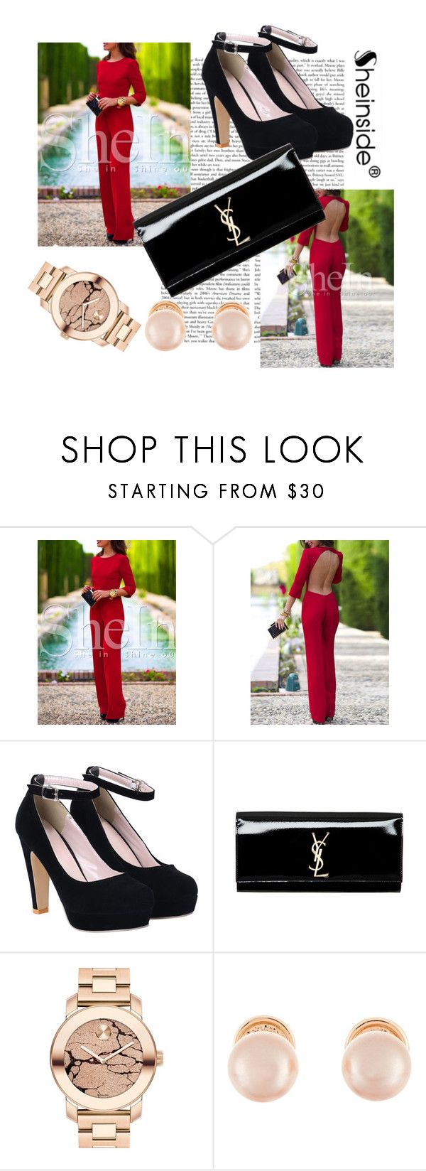 """Sheinside 9/I"" by aneela-57 ❤ liked on Polyvore featuring Yves Saint Laurent, Movado and Kenneth Jay Lane"