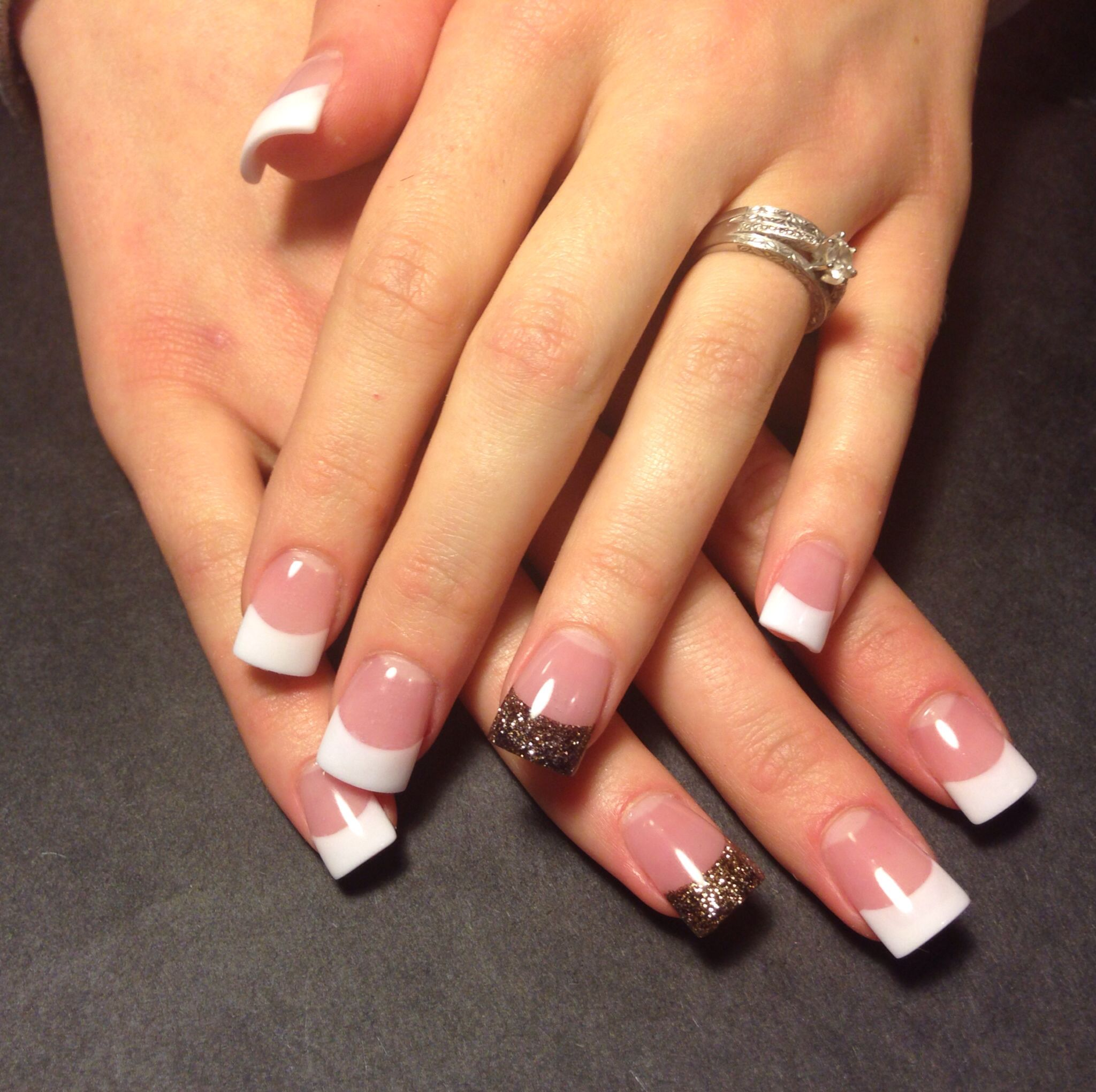 Fall inspired accent nail with classic French manicure. | Nails ...