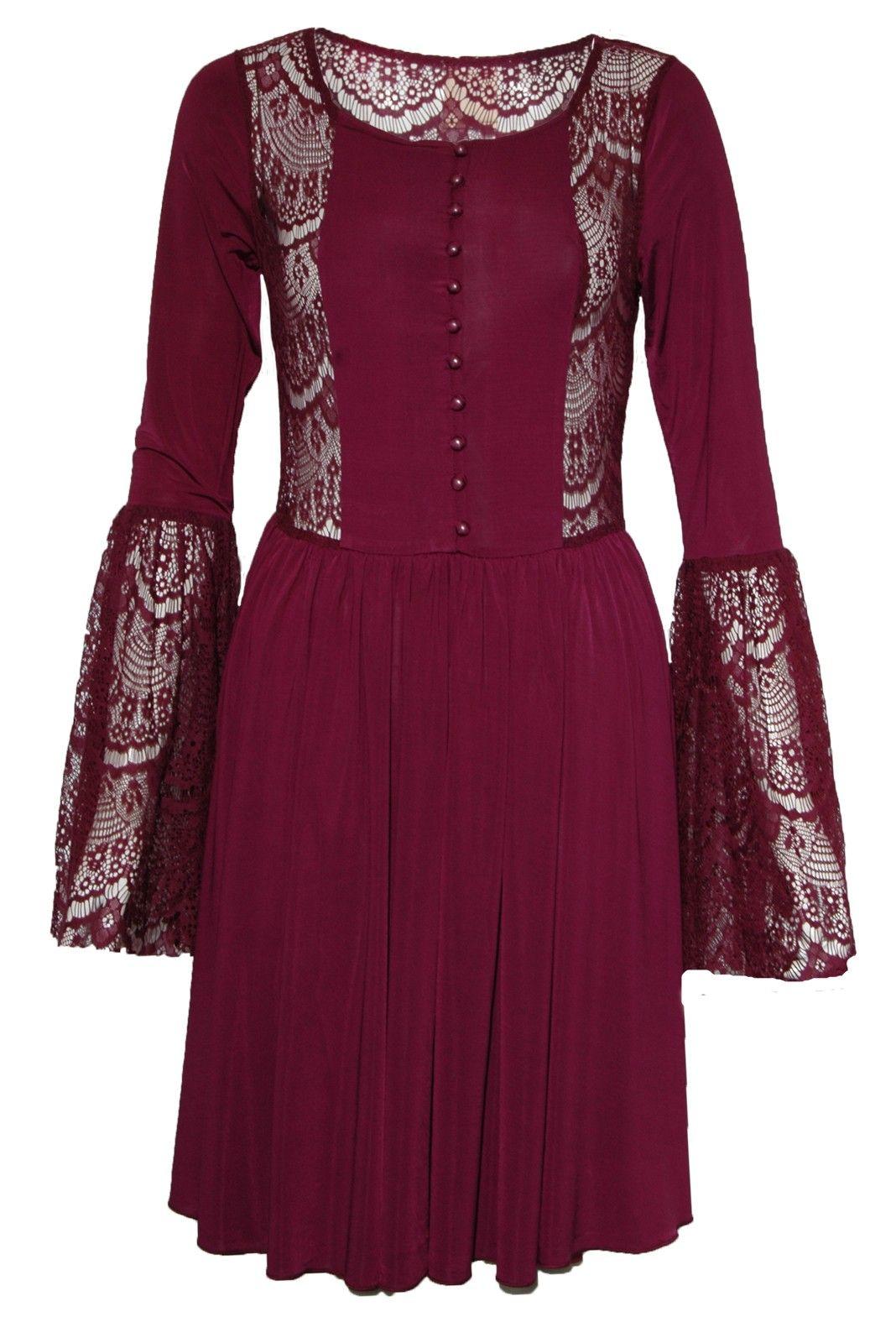 Lace Trim Flared Sleeve Skater- Dress beautifully designed!