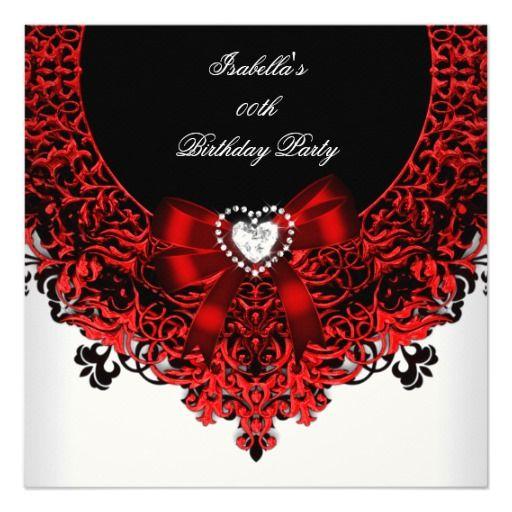 red diamond heart red black white birthday party invitation black
