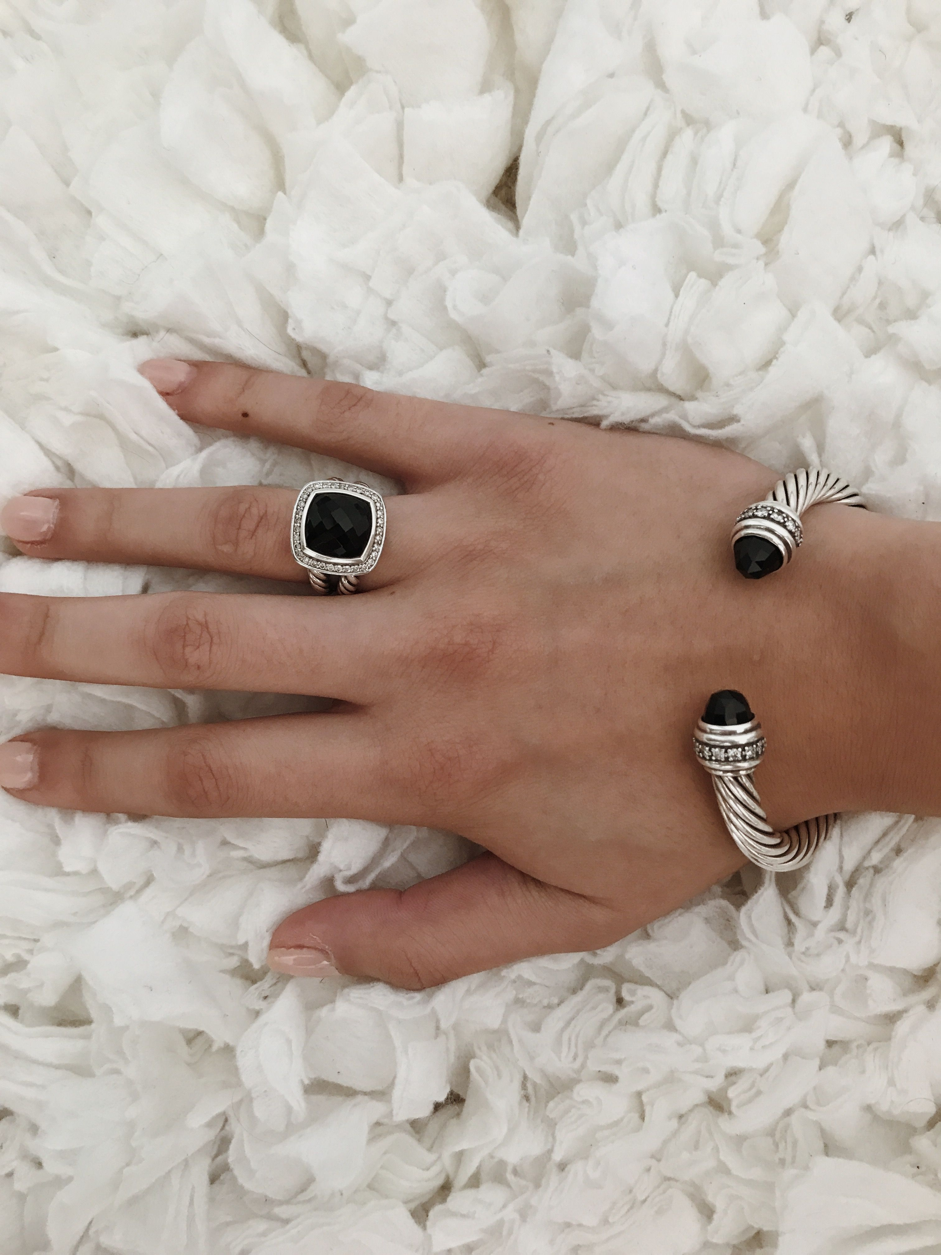 David Yurman Albion Ring With Black Onyx Diamonds 11mm Cable Classic Bracelet Black David Yurman Ring Black David Yurman Cable Bracelet David Yurman Jewelry