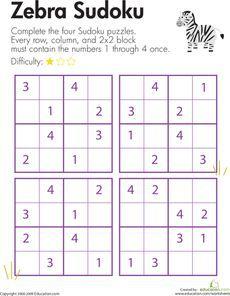 Zebra Sudoku   Pinterest   Logica y Números