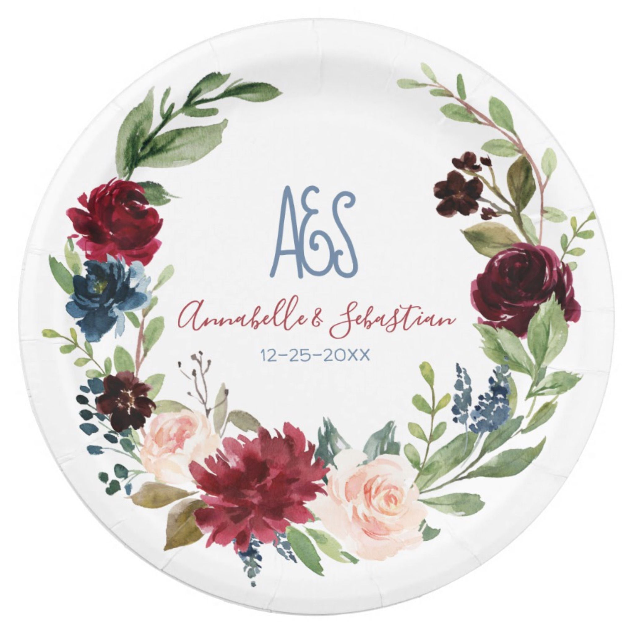 Burgundy Blue Floral Rustic Wedding Paper Plate | Wedding paper