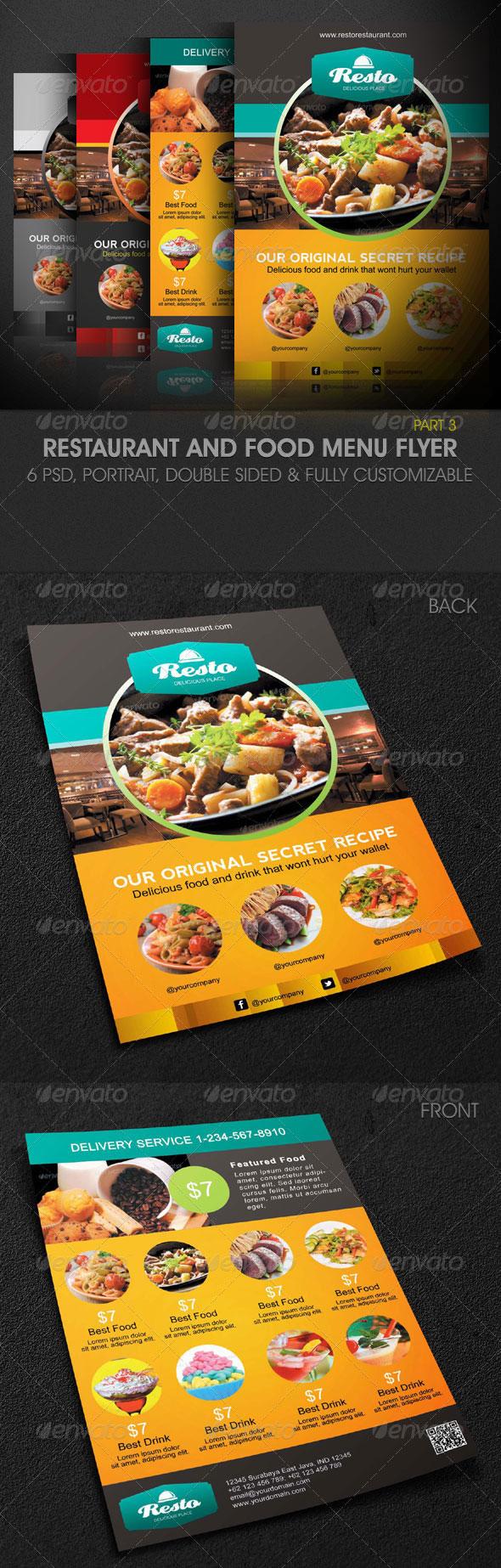 Attractive Modern Restaurant And Food Menu Flyer  Print Design