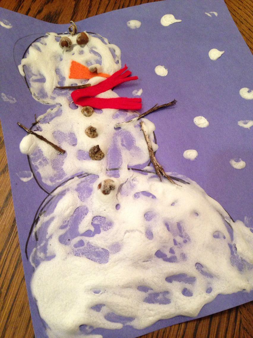 Diy puffy paint snowman craft glue shaving cream in