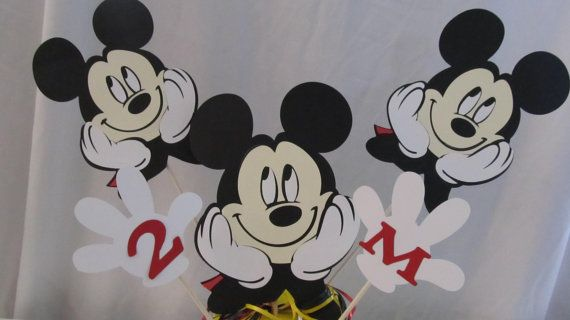 Mickey Mouse Party LARGE Centerpiece Picks by DreamComeTrueParties