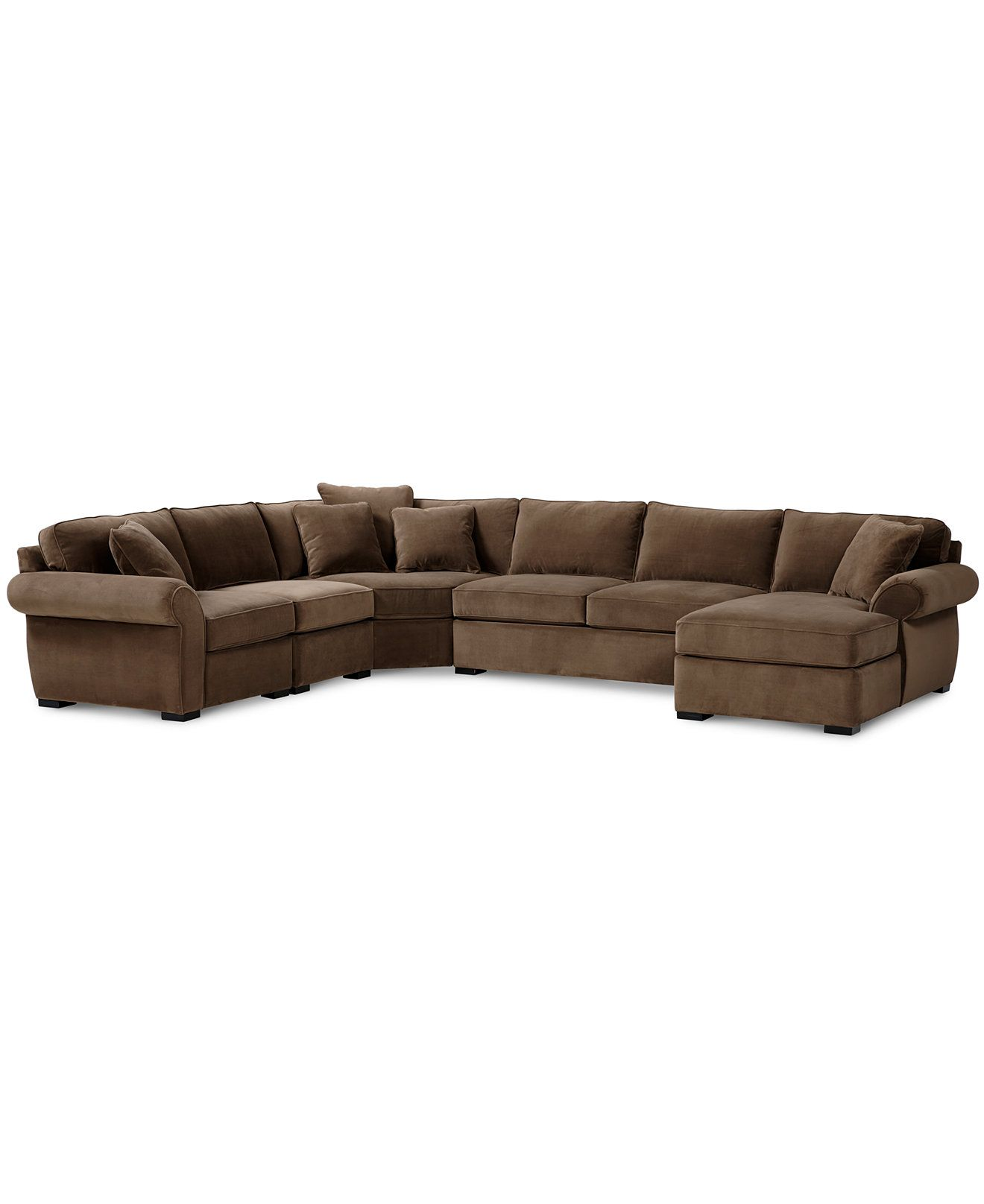 Trevor Fabric 5 Piece Chaise Sectional Sofa Couches Sofas