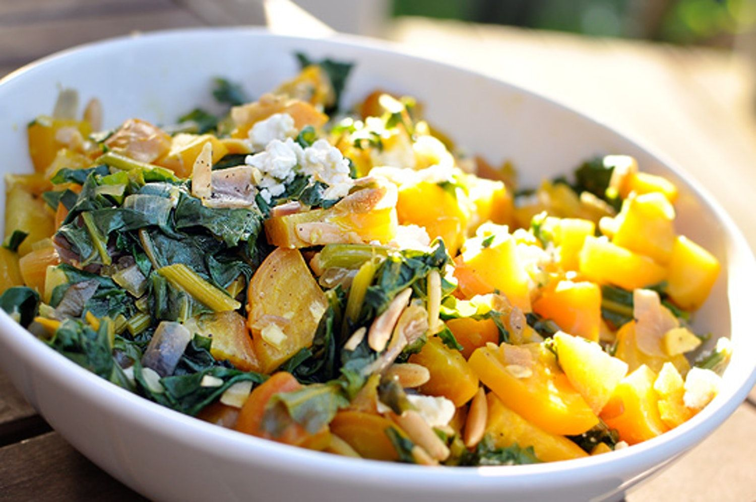 Recipe Warm Golden Beet Salad With Greens And Almonds Recipe Beet Salad Golden Beets Salad Recipes