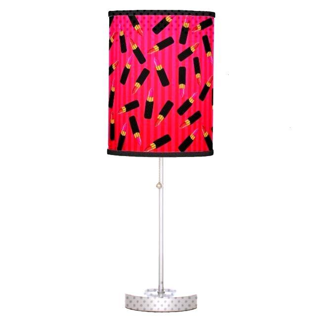 Lipstick Tubes and Stripes Pattern Table Lamp | - Lipstick Tubes and Stripes Pattern Table Lamp