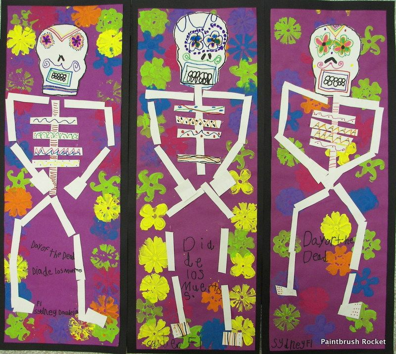 Paintbrush Rocket 1st Grade Day Of The Dead Skeletons