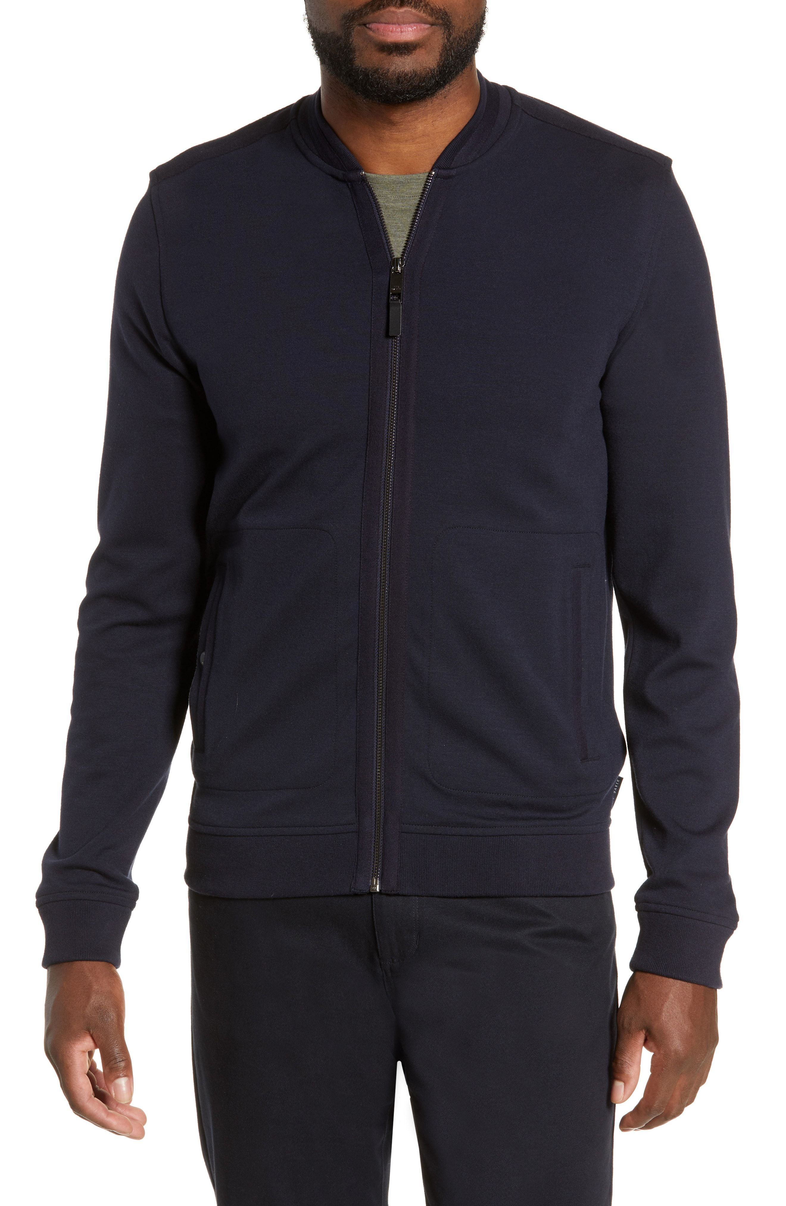 Ted Baker Livid Bomber Jacket With Woven Panels In Navy Modesens [ 4048 x 2640 Pixel ]