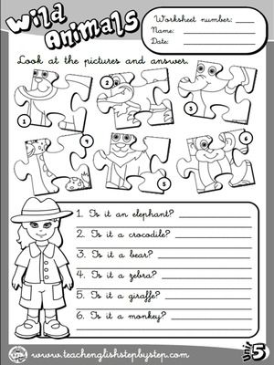 Wild Animals Worksheet 3 B W Version Com Imagens Aulas De