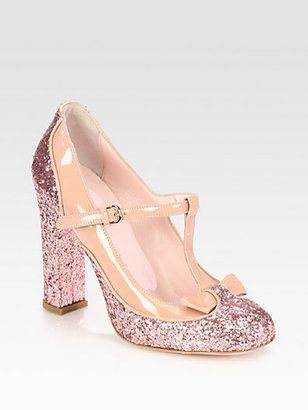3860b6983f8 ShopStyle  RED Valentino Glitter and Patent Leather Bow T-Strap Pumps