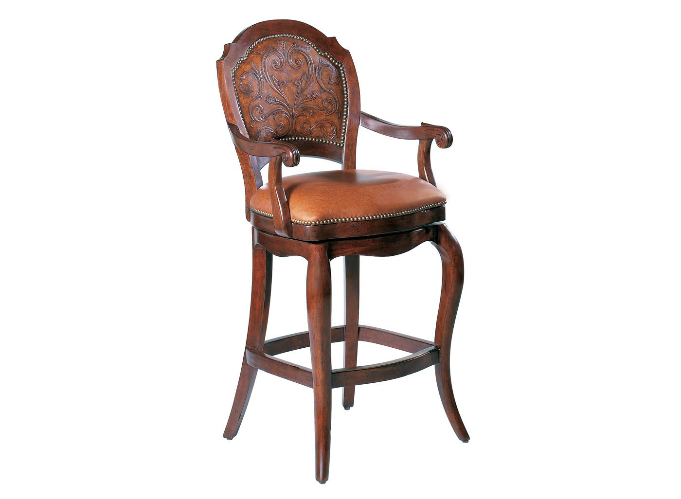Furniture Cool Awesome Wood Toreador Leather Swivel Bar Stool With Back Design And Arm Also Soft Brown L Leather Swivel Bar Stools Bar Stools Swivel Bar Stools