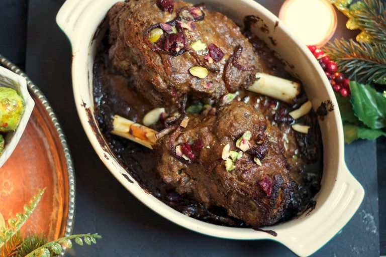 Kashmiri-style roast leg of lamb with cranberries, pistachios and almonds