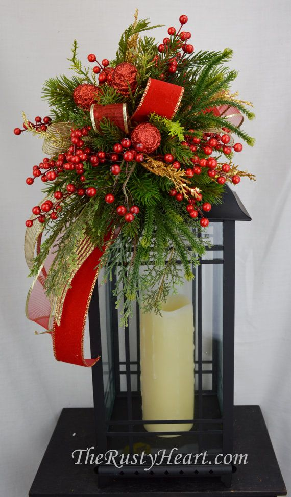 Christmas lantern swag by therustyheart on etsy for Outdoor christmas lantern decorations