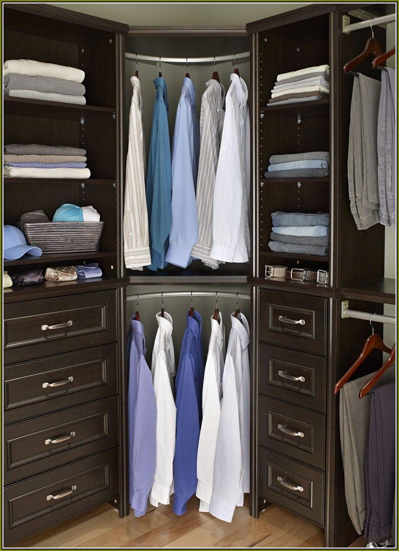 Rounded Corner Closet Rod With Images Corner Closet Shelves Organizing Walk In Closet Corner Closet