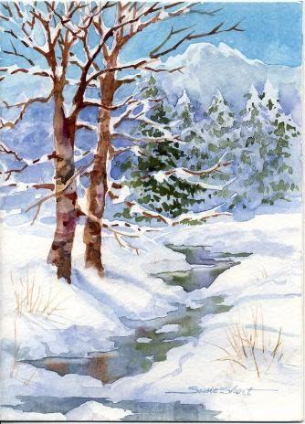 Susie short 39 s watercolor winter cards neige sapins montagne pinterest - Paysage enneige dessin ...