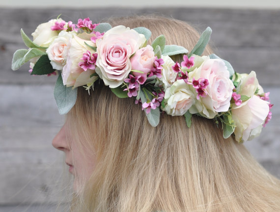 Bridal Flower Crown Silk Wreath By Hollysflowershoppe