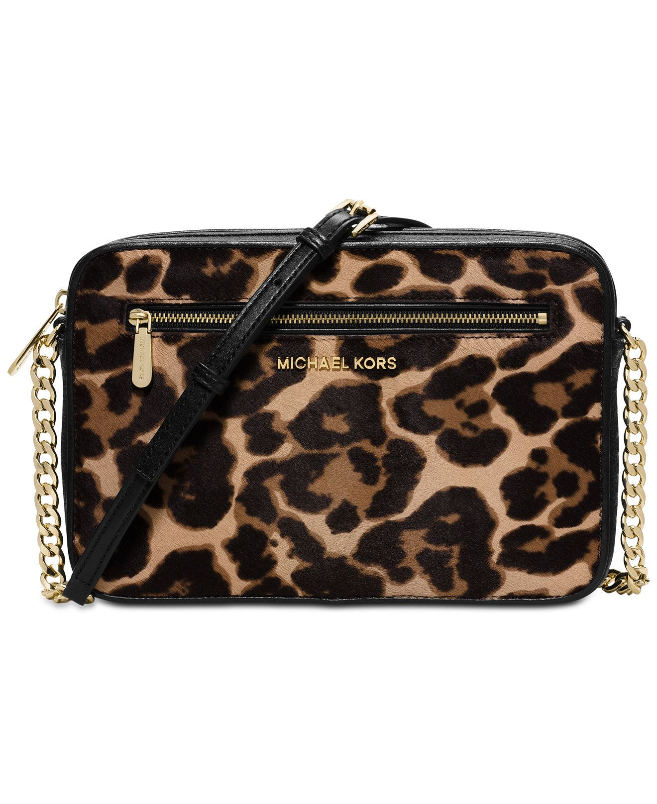 27aec73481db30 MICHAEL Michael Kors Jet Set French Binding Large East West Crossbody Leopard  Handbag Should Strap