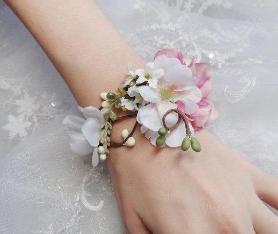 Wedding Cuff Bracelet Bridal Bracelet Pink Flower Accessory