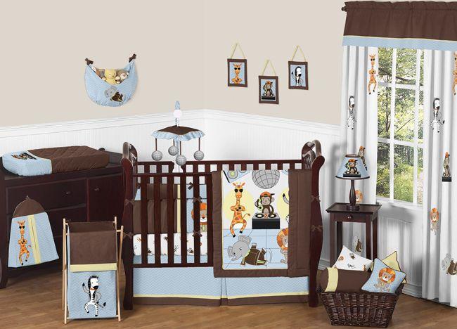 Brown Blue Monkey Boy Nursery Blue Brown Yellow Monkey Giraffe Lion Zebra Newborn Baby Boy Crib Baby Boy Cribs Safari Baby Bedding Animal Baby Bedding