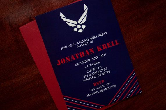 Army Wedding Invitations: Air Force Party Invitation On Etsy, $17.50