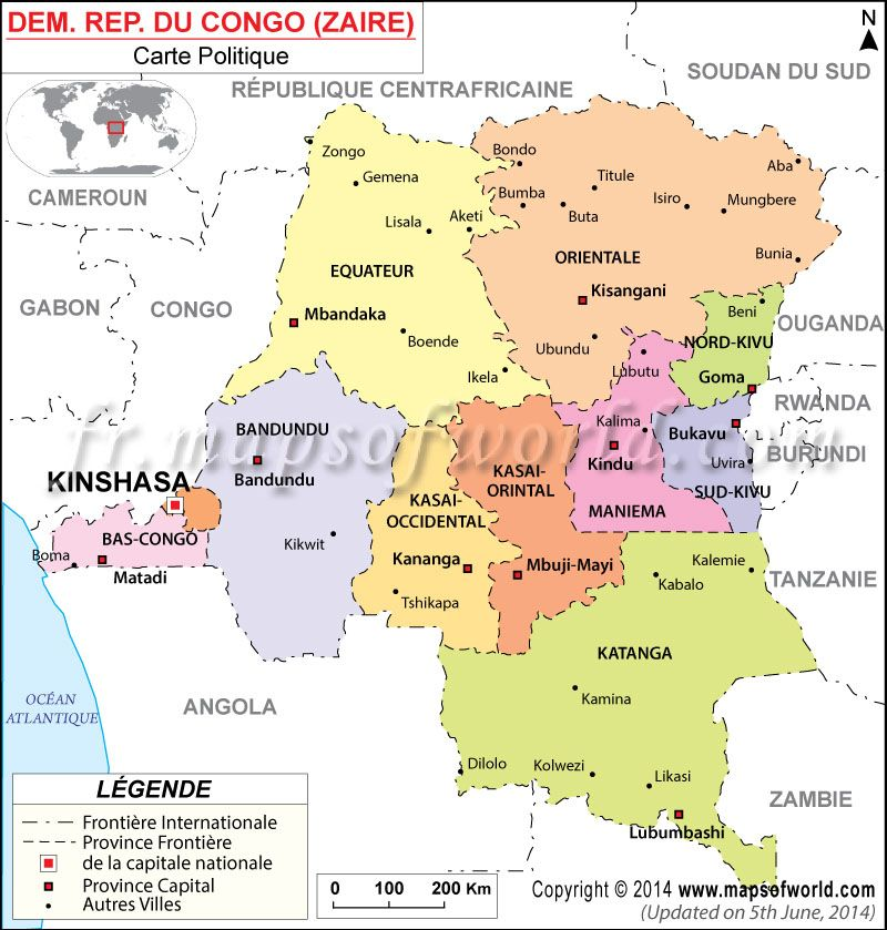 Dem Rep Du Congo Carte Map of Democratic Republic of Congo