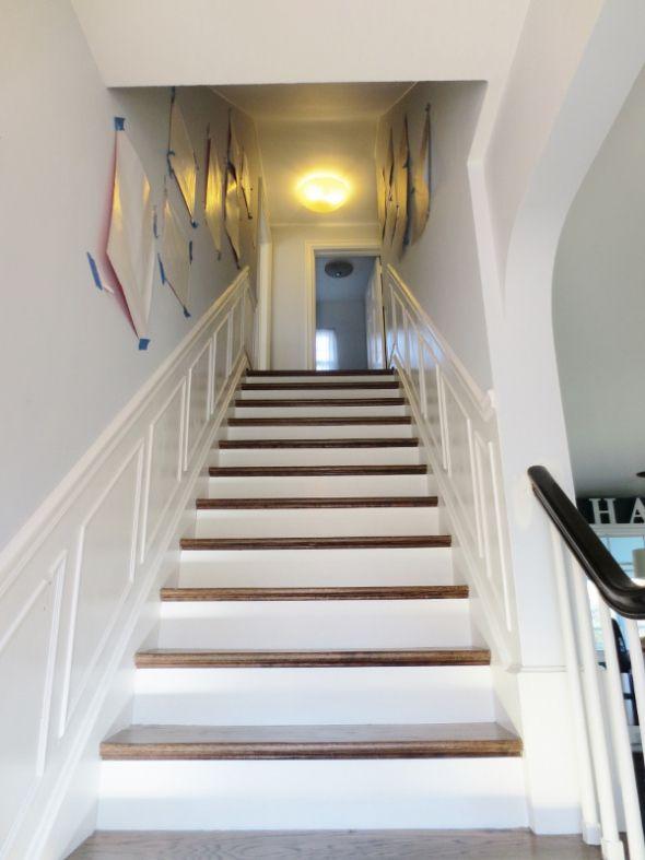 chair rail/shadow boxes narrow staircase