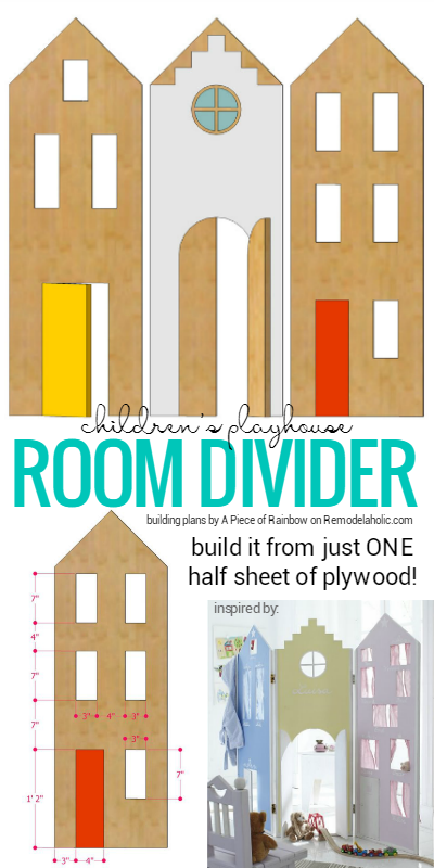 This easy to build childrens playhouse room divider will spark your