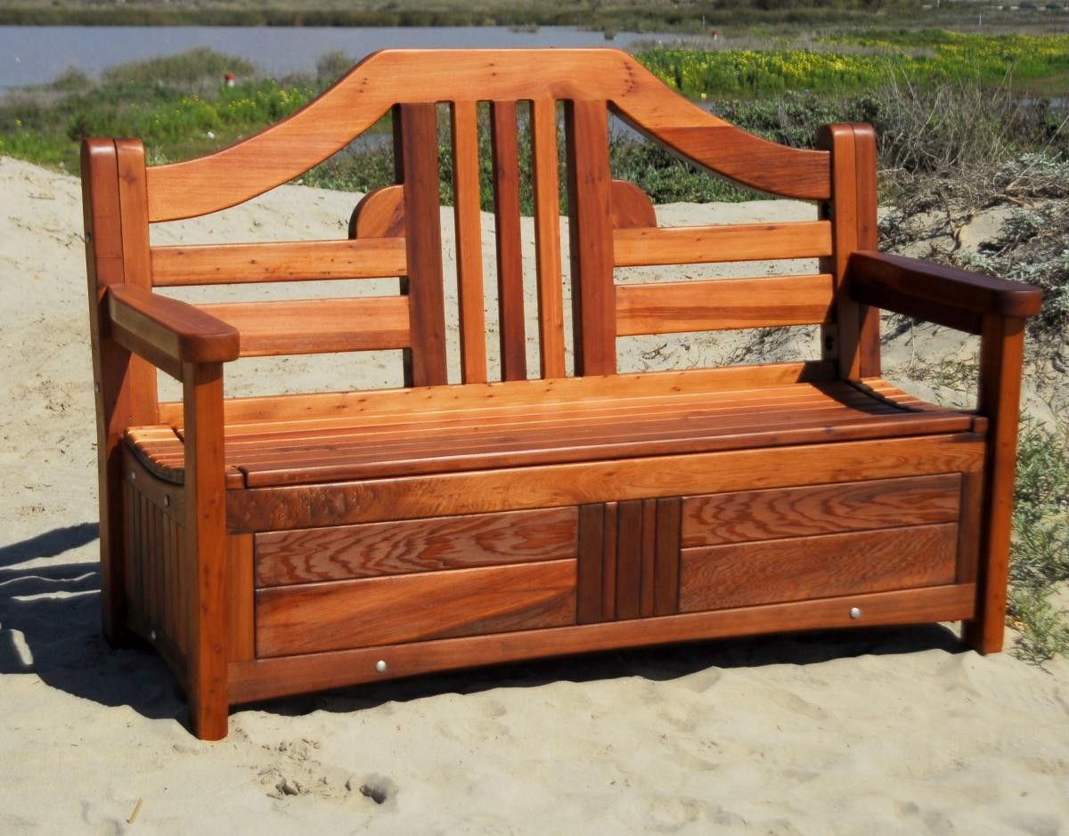 Redwood Storage Bench Such A Great Idea Outdoor Storage Bench Wooden Bench Outdoor Wooden Storage Bench