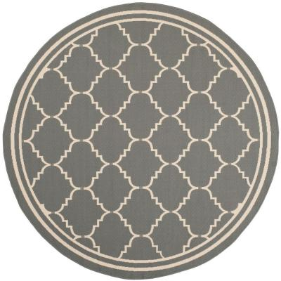 $150 - dinette area? Safavieh Courtyard Grey/Beige 6 ft. 7 in. x 6 ft. 7 in. Round Area Rug - CY6889-246-7R - The Home Depot