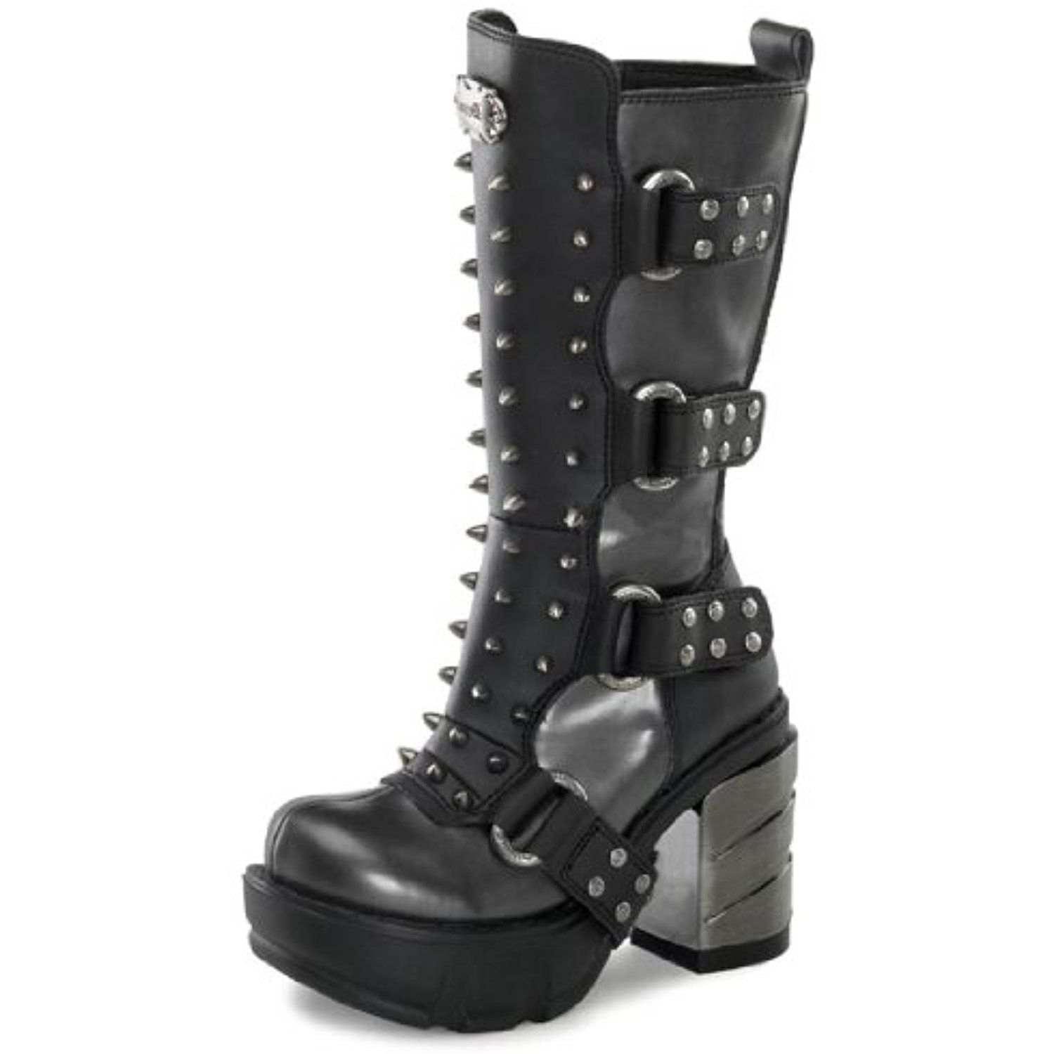 Womens Sizing Vegan Grey and Black Mid Calf Boots with Spikes and 3.5 Heels