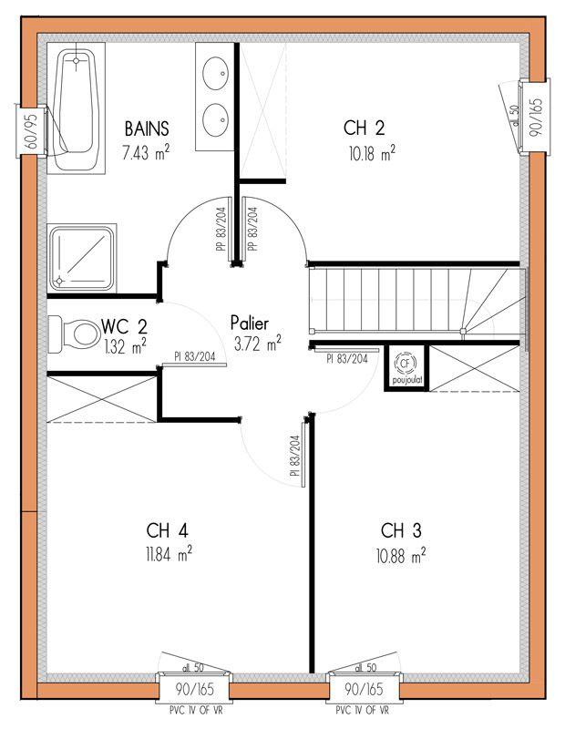 135 m² - 4 chambres - 1 étage - VUE ETAGE plan maison Pinterest - plan maison 110m2 etage