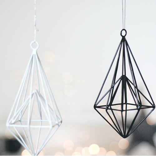 Modern Geometric Hanging Christmas Tree Decorations In Black And