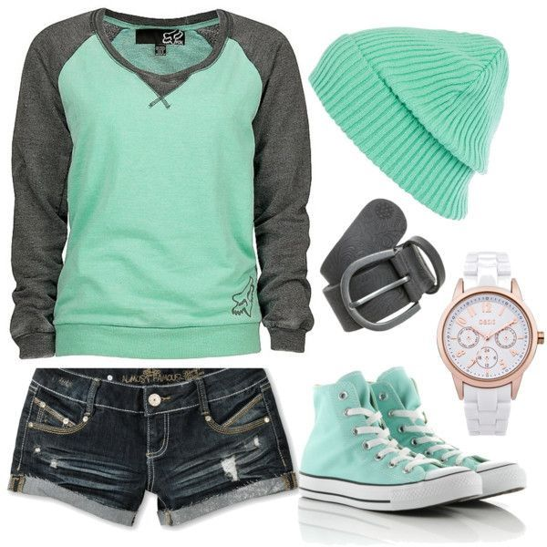 Photo of Green Tee with denim shorts