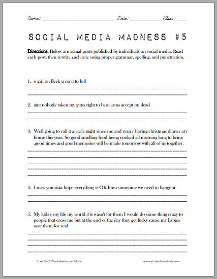 Social Media Madness Worksheet #5 Social Media Worksheet, Grammar  Worksheets, Fun Math Worksheets